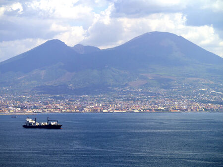 italian alpine troops: The Waterfront of Naples with Mount Vesuvius in the Backgroun Editorial