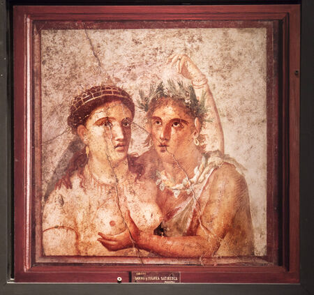 fresco: Wall Fresco from Pompeii in Naples Archaeological Museum Italy