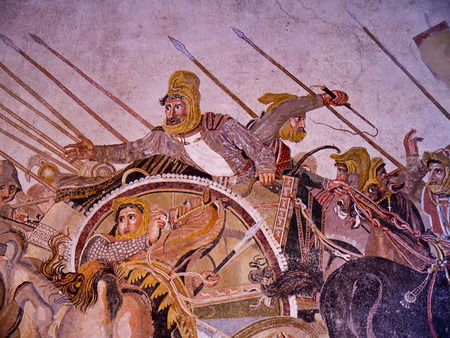 brenda kean: Alexander the Great Mosiac from the once buried city of Pompeii Italy Editorial
