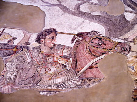Alexander the Great Mosiac from the once buried city of Pompeii Italy Editorial