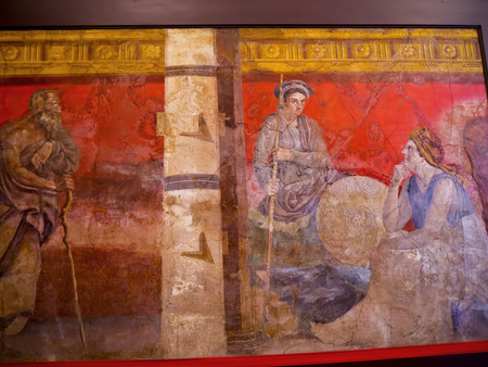 pompeii: Wall Fresco from Pompeii in Naples Archaeological Museum Italy