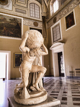 Atlas Statue in the Grand hall in the Naples Archaeological Museum Italy