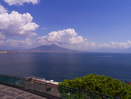 italian alpine troops: The Waterfront of Naples with Mount Vesuvius in the Backgroun Stock Photo