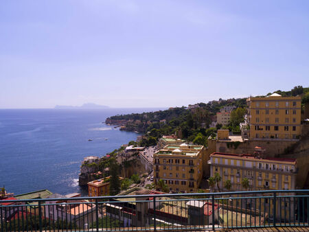 italian alpine troops: Buildings on the Waterfront of Naples Stock Photo