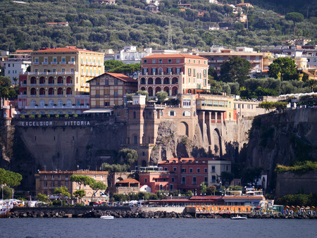 sorrento: Approaching Sorrento from the sea in Italy