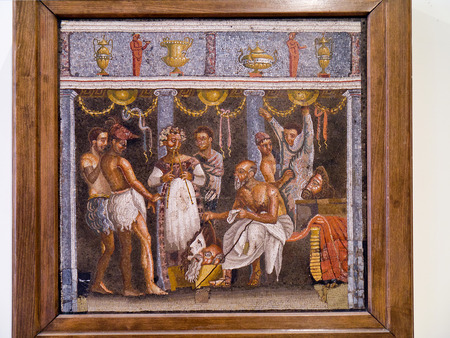 Small fresco from Pompeii in Naples Museum Editorial