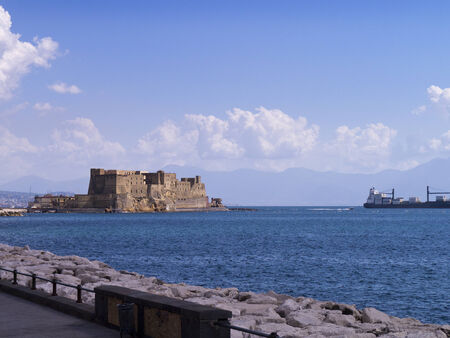 italian alpine troops: Castle in the sea off Naples in Italy Editorial