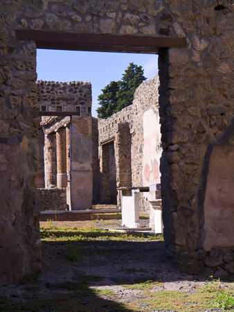 Buildings in the buried city of Pompeii in Italy photo
