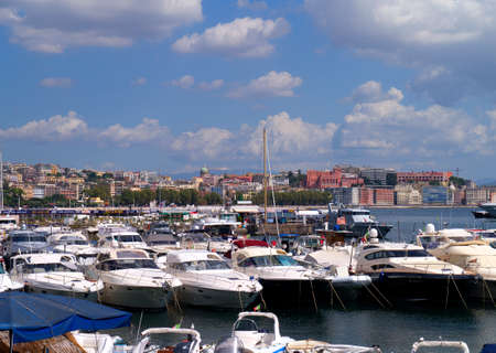 italian alpine troops: The busy Marina in the Port of Naples in Italy