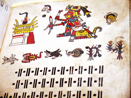 codex: Aztec codex or dreambook in Museum in Liverpool England