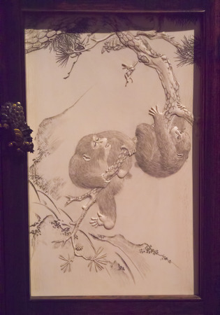 Japanese Ivory Panel with Monkeys in Museum