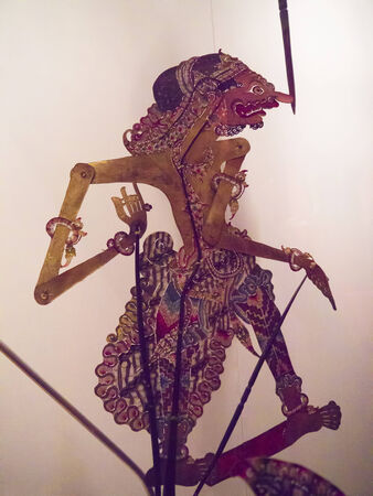 shadow puppets: Javanese Shadow Puppets in Museum Stock Photo