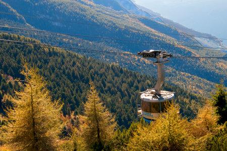 Cable Car Up Monte Baldo Above Malcesine On Lake Garda Italy Stock