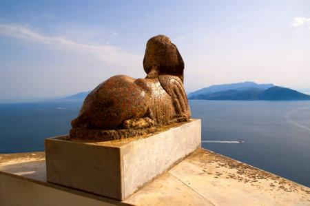 san michele: 2000 year old sphinx in Anacapri on island of Capri in Italy Villa San Michele on the island of Capri, Campania Southern Italy