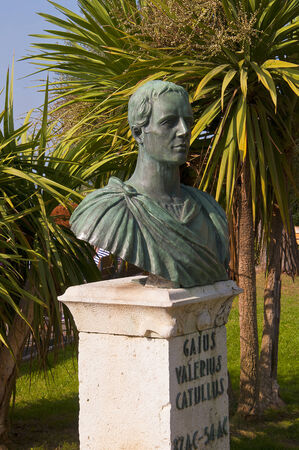 Statue to the Roman Poet Catullus in Sirmione Lake Garda Italy