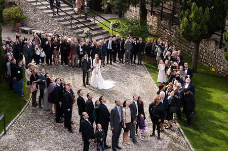 Wedding Party in Malcesine on Lake Garda Italy Stock Photo - 27027568
