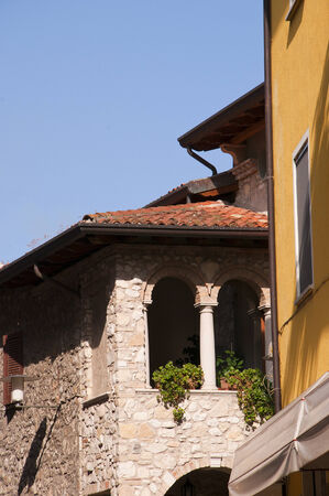 sirmione: Ancient Buildings in Sirmione on Lake Garda Italy Editorial