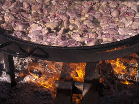 burriana beach: Cooking a huge pan of Paella on the Burriana Beach in Nerja Andalucia Spain