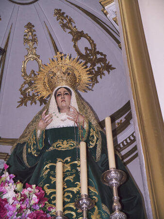 our lady of sorrows: Our Lady of Sorrows in the Iglesia El Salvador in Nerja Andalucai Spain Editorial