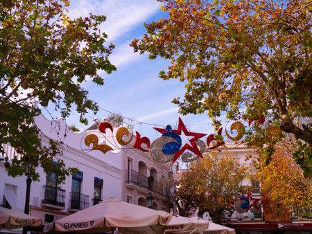 nerja: Christmas  Decorations in Nerja Spain Editorial