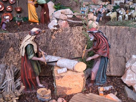 nerja: Escena de la cuna de Navidad en Nerja Andalucia Espa�a