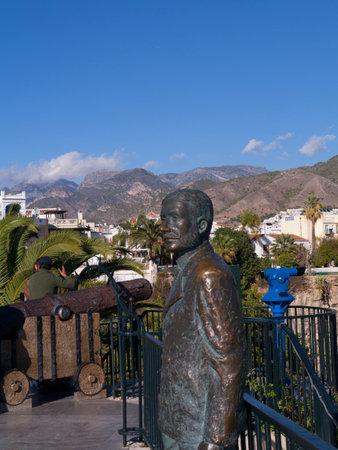 balcon: Statue of King Alphonso on the Balcon de Europa in Nerja Spain Editorial