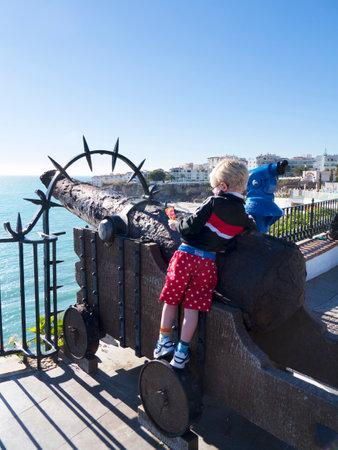 balcon: Cannon on the Balcon de Europa in Nerja Andalucia Spain