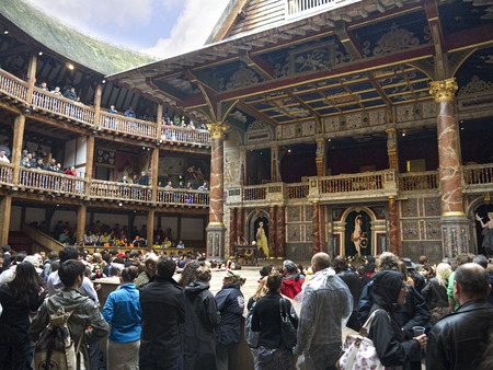 Shakespeares Globe Theatre on the bank of the Thames in Southwark London England