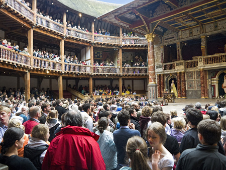southwark: Shakespeares Globe Theatre on the bank of the Thames in Southwark London England