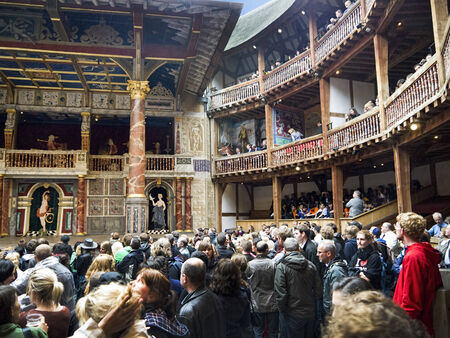 Awaiting the performance at Shakespeares Globe Theatre in London