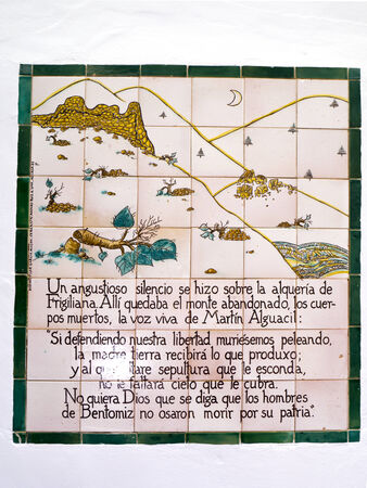 One of the ceramic plaques that tell the story of Frigiliana in Andalucia Spain which shows the Moorish village�s last battle against the Christians in 1496