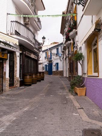 Street scene in Nerja, a sleepy Spanish Holiday resort on the Costa Del Sol  near Malaga, Andalucia, Spain, Europe