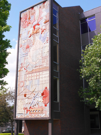 burnley: Mural showing the history of the Town of Burnley in Lancashire