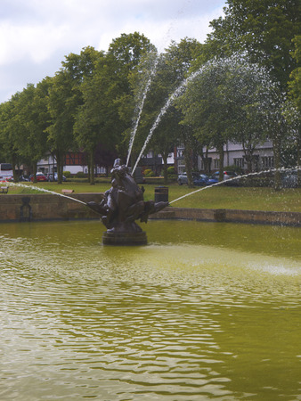 philanthropist: Fountain at the model village of Port Sunlight, created by William Hesketh Lever for his Sunlight soap factory workers in 1888  Editorial