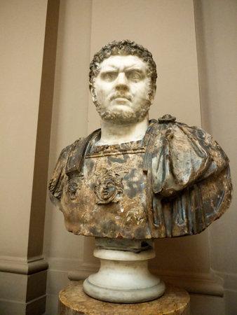 Busto de mármol del emperador romano Caracalla en el Museo