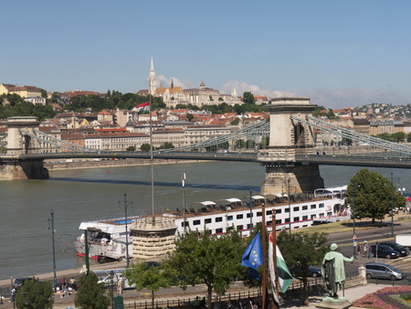 fisherman bastion: the Chain Bridge over the River Danube in Budapest Hungary Editorial