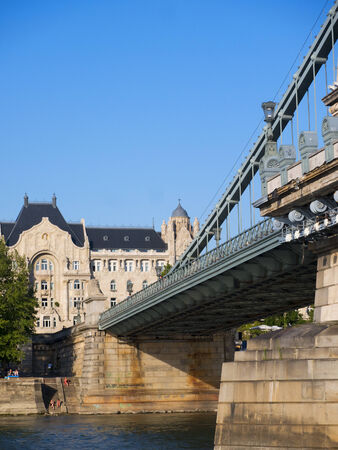 the Chain Bridge over the River Danube in Budapest Hungary