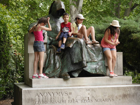 anonymus: The Anonymus Poet statue at Vajdahunyad castle in Budapest Hungary