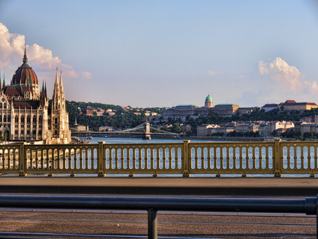 fisherman bastion: Houses of Parliament in Budapest Hungary from the Margaret Bridge Editorial