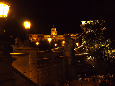 fisherman bastion: the Chain Bridge in Budapest Hungary at night Editorial