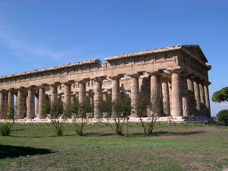 Complex of Greek temples at Paestum near Salerno in Southern Italy