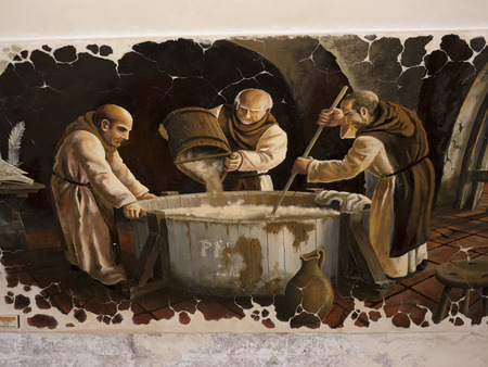 Fresco of Brewing Beer in Budapest Hungary Editorial