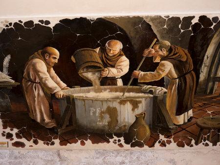 Fresco van het brouwen van bier in Boedapest Hongarije Redactioneel