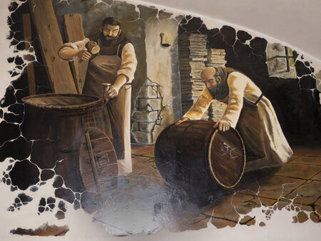 brenda kean: Fresco of Brewing Beer in Budapest Hungary Editorial