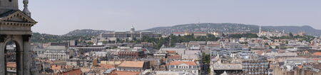fisherman bastion: Panoramic view from the top of St Stephens cathedral dome over the city of Budapest Hungary Editorial
