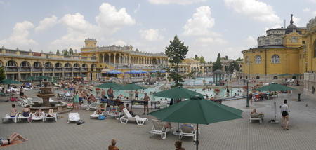 szechenyi: Szechenyi Baths in City Park in Budapest Hungary