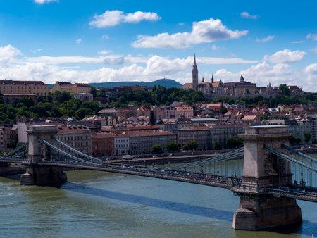 matthias: the Chain Bridge over the River Danube in Budapest Hungary Editorial
