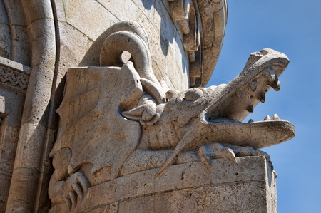 Dragon on the Fishermens Bastion on Buda Castle Hill in Budapest Hungary