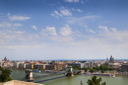 view from the Royal Palace in Budapest Hungary of the Chain Bridge