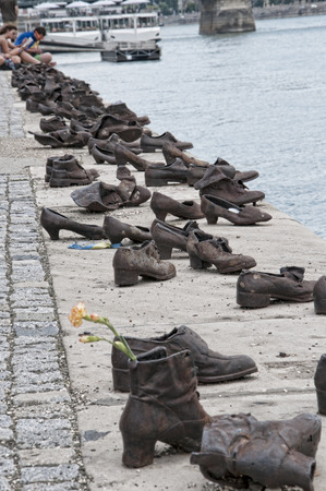 Bronze shoes on the quayside of the River Danube in Budapest to remember the deportation of Hungarian Jews to the Nazi Death Camps